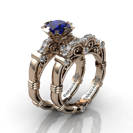 Art Masters Caravaggio 14K Rose Gold 1.0 Ct Blue Sapphire Diamond Engagement Ring Wedding Band Set R623S-14KRGDBS-1