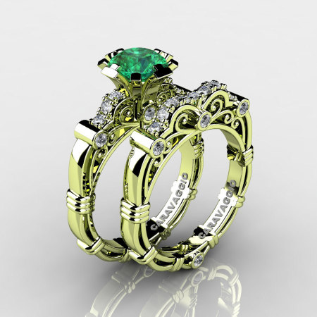 Art Masters Caravaggio 18K Green Gold 1.0 Ct Emerald Diamond Engagement Ring Wedding Band Set R623S-18KGGDEM-1