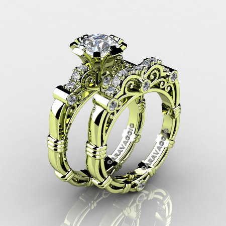 Art Masters Caravaggio 18K Green Gold 1.0 Ct White Sapphire Diamond Engagement Ring Wedding Band Set R623S-18KGGDWS-1