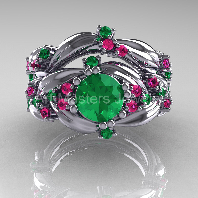 Nature Classic 14K White Gold 10 Ct Emerald Pink Sapphire Leaf And Vine Engagement Ring Wedding