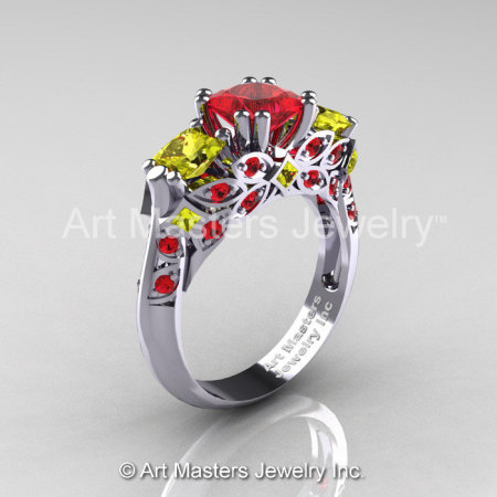 Classic 18K White Gold Three Stone Princess Rubies Yellow Sapphire Solitaire Engagement Ring R500-18KWGYSR-1