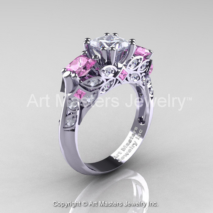 Classic 18K White Gold Three Stone Princess White and Light Pink Sapphire Sol