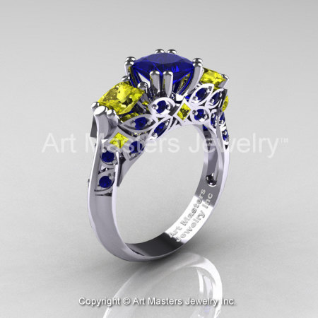 Classic 18K White Gold Three Stone Princess Blue and Yellow Sapphire Solitaire Engagement Ring R500-18KWGYSBS-1