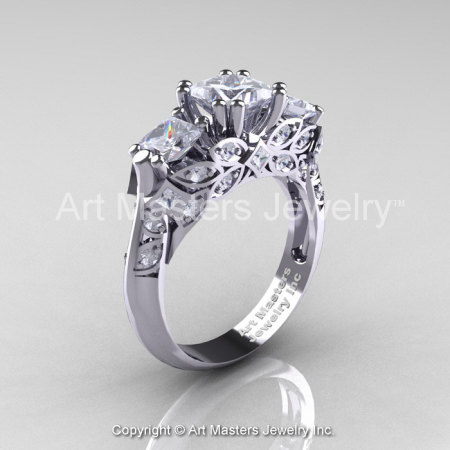 Classic 18K White Gold Three Stone Princess White Sapphire Solitaire Engagement Ring R500-18KWGWS-1
