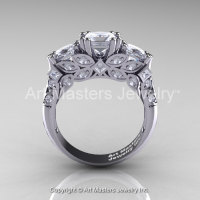 Classic 14K White Gold Three Stone Princess White Sapphire Solitaire Engagement Ring R500-14KWGWS-1
