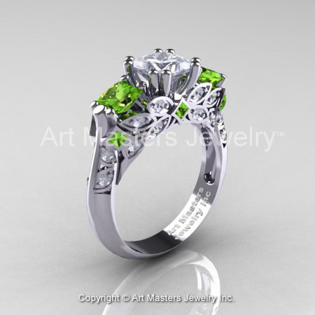Classic 14K White Gold Three Stone Princess White Sapphire Peridot Solitaire Engagement Ring R500-14KWGPEWS-1