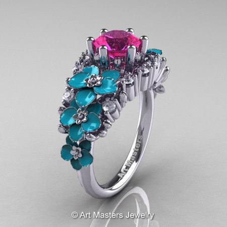 Nature Classic 14K White Gold 1.0 Ct Pink Sapphire Diamond Turquoise Orchid Engagement Ring R604-14KWGDTPS-1