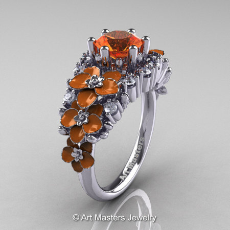 Nature Classic 14K White Gold 1.0 Ct Orange Sapphire Diamond Orange Orchid Engagement Ring R604-14KWGDPOS-1