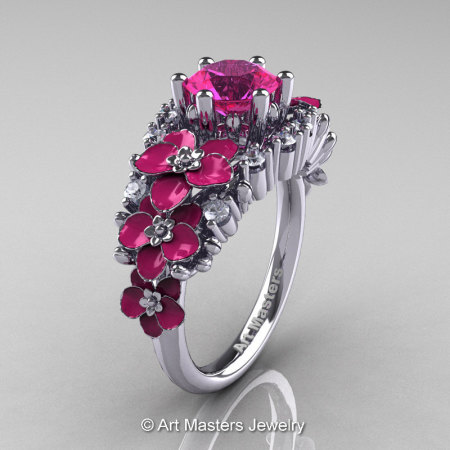 Nature Classic 14K White Gold 1.0 Ct Pink Sapphire Diamond Pink Orchid Engagement Ring R604-14KWGDPPS-1