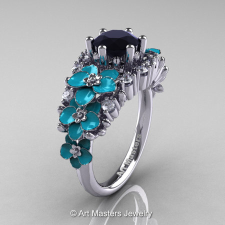 Nature Classic 14K White Gold 1.0 Ct Black and White Diamond Turquoise Orchid Engagement Ring R604-14KWGDTBD-1