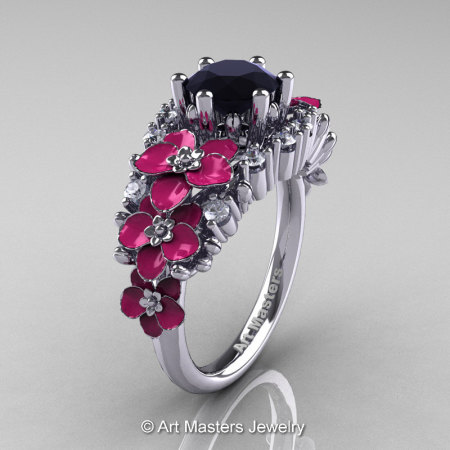 Nature Classic 14K White Gold 1.0 Ct Black and White Diamond Pink Orchid Engagement Ring R604-14KWGDPBD-1