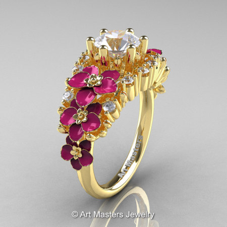 Nature Classic 18K Yellow Gold 1.0 Ct White Sapphire Diamond Pink Orchid Engagement Ring R604-18KYGDPWS-1
