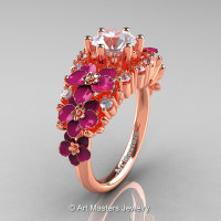 Nature Classic 18K Rose Gold 1.0 Ct White Sapphire Diamond Pink Orchid Engagement Ring R604-18KRGDPWS-1