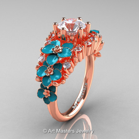 Nature Classic 18K Rose Gold 1.0 Ct White Sapphire Diamond Turquoise Orchid Engagement Ring R604-18KRGDTWS-1