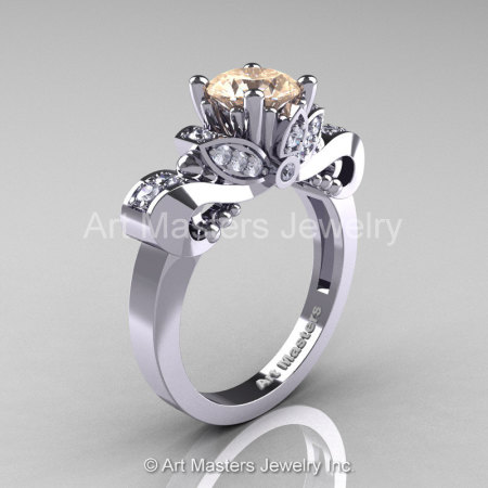 Classic 950 Platinum 1.0 Ct Champagne and White Diamond Solitaire Engagement Ring R323-PLATDCHD-1