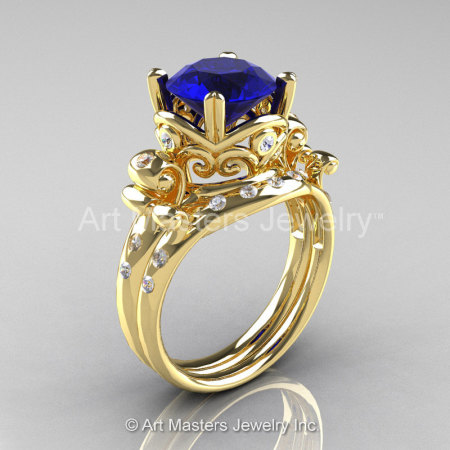 Art Masters Vintage 14K Yellow Gold 3.0 Ct Blue Sapphire Diamond Wedding Ring Set R167S-14KYGDBS-1