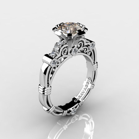 Art Masters Caravaggio 14K White Gold 1.0 Ct Champagne and White Diamond Engagement Ring R623-14KWGDCHD-1
