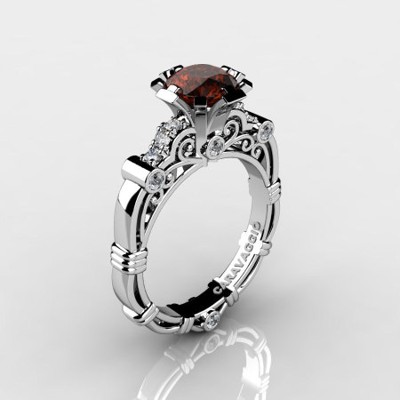 Art Masters Caravaggio 14K White Gold 1.0 Ct Brown and White Diamond Engagement Ring R623-14KWGDBRD-1