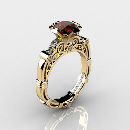 Art Masters Caravaggio 14K Yellow Gold Gold 1.0 Ct Brown and White Diamond Engagement Ring R623-14KYGDBRD-1
