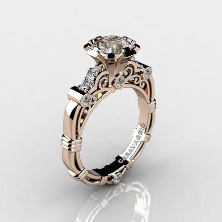 Art Masters Caravaggio 14K Rose Gold 1.0 Ct Champagne and White Diamond Engagement Ring R623-14KRGDCHD-1