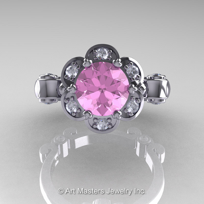 Art Masters Caravaggio 14K White Gold 1 0 Ct Light Pink Sapphire Diamond Enga