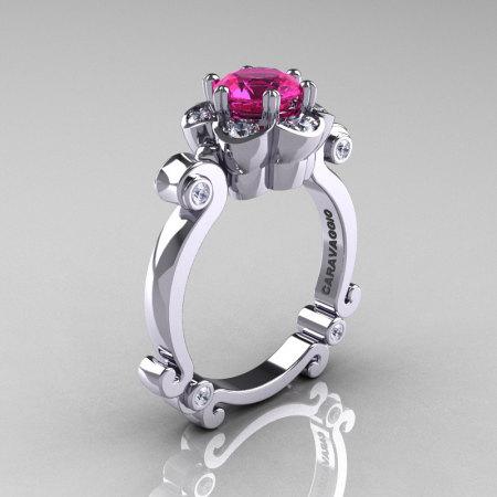 Art Masters Caravaggio 14K White Gold 1.0 Ct Pink Sapphire Diamond Engagement Ring R606-14KWGDPS-1