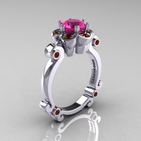 Art Masters Caravaggio 10K White Gold 1.0 Ct Pink Sapphire Brown Diamond Engagement Ring R606-10KWGBRDPS-1