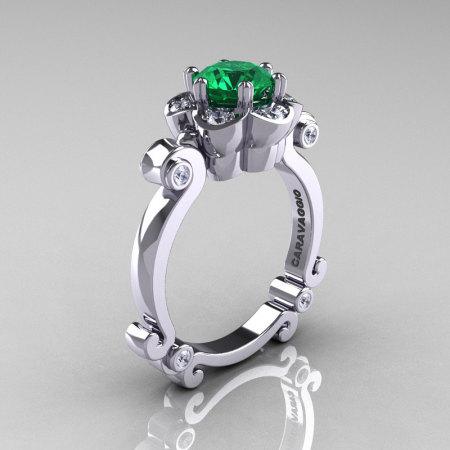 Art Masters Caravaggio 14K White Gold 1.0 Ct Emerald Diamond Engagement Ring R606-14KWGDEM-1