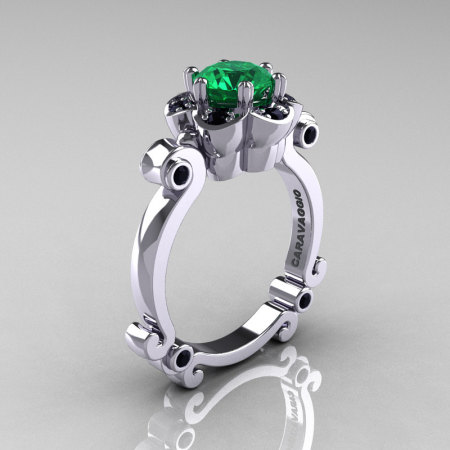 Art Masters Caravaggio 10K White Gold 1.0 Ct Emerald Black Diamond Engagement Ring R606-10KWGBDEM-1
