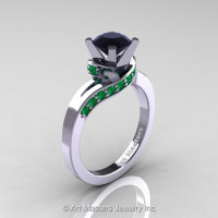 Classic 14K White Gold 1.0 Ct Black Diamond Emerald Designer Solitaire Ring R259-14KWGEMBD-1