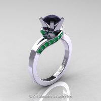 Classic 14K White Gold 1.0 Ct Black Diamond Emerald Designer Solitaire Ring R259-14KWGEMBD-1