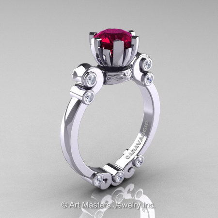 Caravaggio 14K White Gold 1.0 Ct Garnet Diamond Solitaire Engagement Ring R607-14KWGDG-1