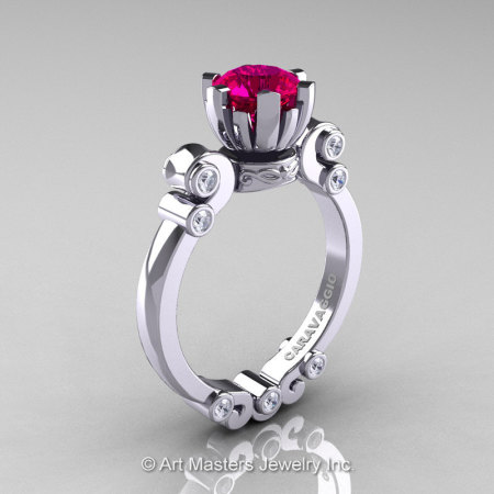 Caravaggio 14K White Gold 1.0 Ct Pigeon Blood Ruby Diamond Solitaire Engagement Ring R607-14KWGDPBR-1
