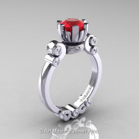 Caravaggio 14K White Gold 1.0 Ct Ruby Diamond Solitaire Engagement Ring R607-14KWGDR-1