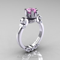 Caravaggio 14K White Gold 1.0 Ct Light Pink Sapphire Diamond Solitaire Engagement Ring R607-14KWGDLPS-1
