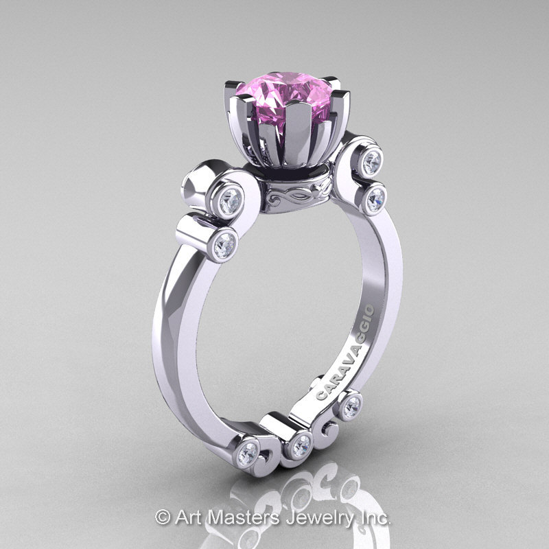 Caravaggio 14K White Gold 1 0 Ct Light Pink Sapphire Diamond Solitaire Engage