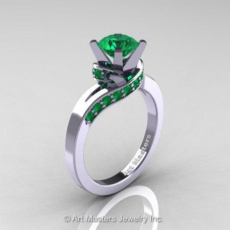 Classic 14K White Gold 1.0 Ct Emerald Designer Solitaire Ring R259-14KWGEM-1