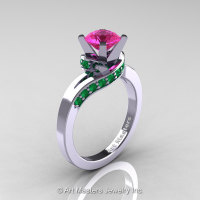 Classic 14K White Gold 1.0 Ct Pink Sapphire Emerald Designer Solitaire Ring R259-14KWGEMPS-1