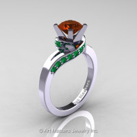 Classic 14K White Gold 1.0 Ct Brown Diamond Emerald Designer Solitaire Ring R259-14KWGEMBRD-1