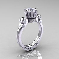 Caravaggio 14K White Gold 1.0 Ct Cubic Zirconia Diamond Solitaire Engagement Ring R607-14KWGDCZ-1
