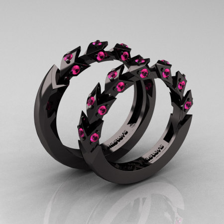 Modern Italian 14K Black Gold Pink Sapphire Wedding Band Set R320BS-14KBGPS-1