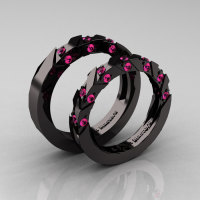 Modern Italian 14K Black Gold Pink Sapphire Wedding Band Set R310BS-14KBGPS-1