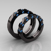 Modern Italian 14K Black Gold Blue Topaz Wedding Band Set R310BS-14KBGBT-1