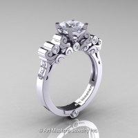 Classic Armenian 950 Platinum 1.0 Ct Princess CZ Diamond Solitaire Wedding Ring R608-PLATDCZ-1