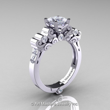 Classic Armenian 950 Platinum 1.0 Ct Princess CZ Diamond Solitaire Wedding Ring R608-PLATDCZ-1