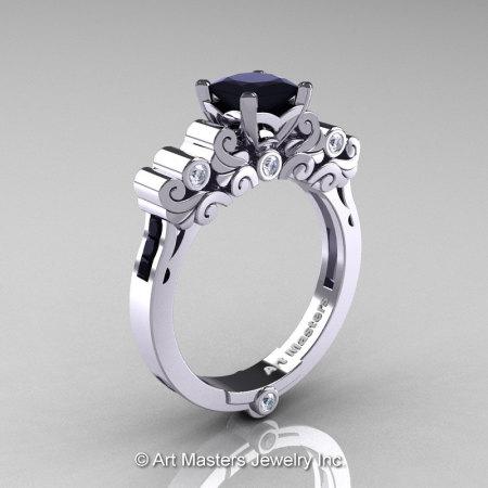 Classic Armenian 950 Platinum 1.0 Ct Princess Black and White Diamond Solitaire Wedding Ring R608-PLATDBD-1