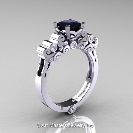 Classic Armenian 14K White Gold 1.0 Ct Princess Black and White Diamond Solitaire Wedding Ring R608-14KWGDBD-1