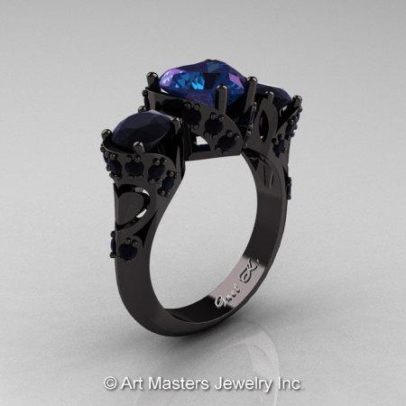 Scandinavian 14K Black Gold 2.0 Ct Heart Alexandrite Black Diamond Three Stone Designer Engagement Ring R434M-14KBGBDAL-1