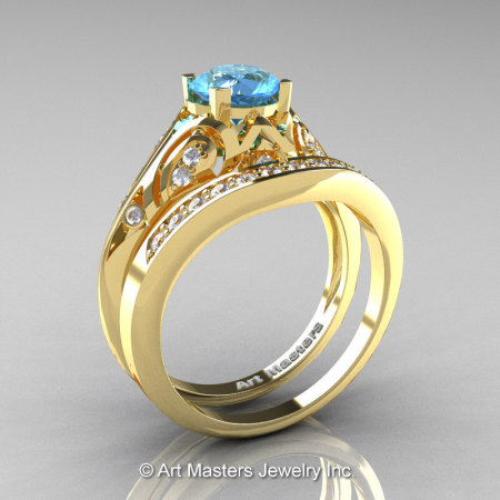 Classic Armenian 18K Yellow Gold 1.0 Ct Swiss Blue Topaz Diamond Engagement Ring Wedding Band Set R477S-18KYGDSBT-1