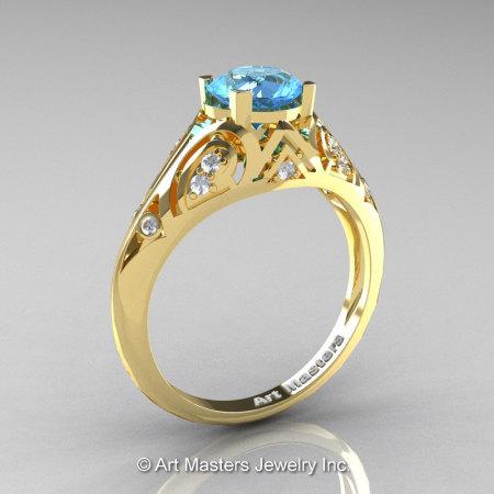 Classic Armenian 18K Yellow Gold 1.0 Ct Swiss Blue Topaz Diamond Engagement Ring R477-18KYGDSBT-1